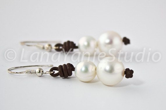 Pearl and leather earrings  freshwater by LeatherPearlJewelry