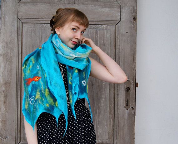 Cobweb felted scarf felt wool scarf turquoise light by filcAlki