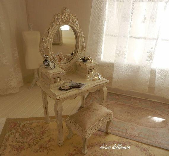 Shabby Dressing Table, Stool, Accessories Dollhouse Miniature Handmade, 1:12 Scale Dolls House