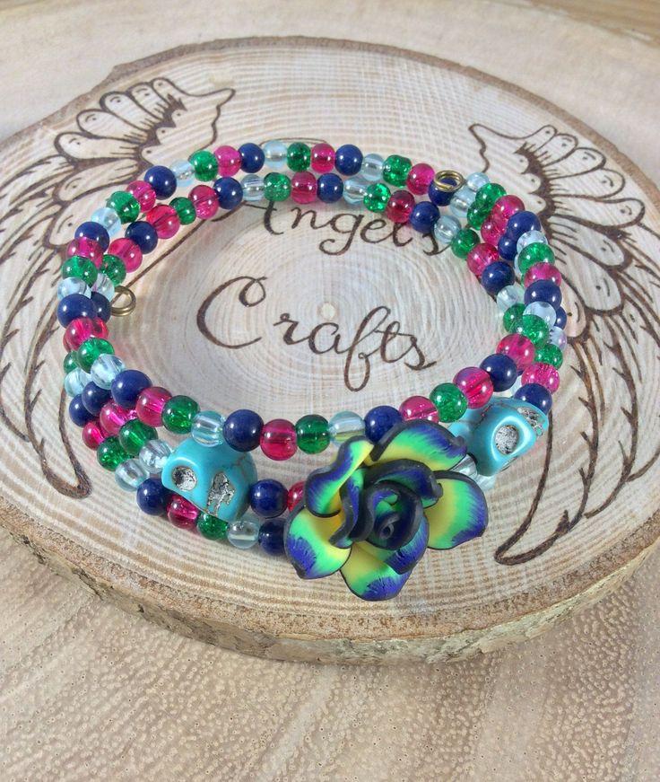 ladies bracelet, polymer clay, bracelet, jewellery, cuff bracelet, flower bracelet, memory wire, sugar skull, gift for her, OOAK by Angelscrafts1 on Etsy