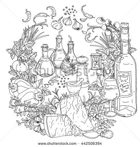 italian food coloring pages | 448 best Food-Related Mandala/Coloring pages images on ...