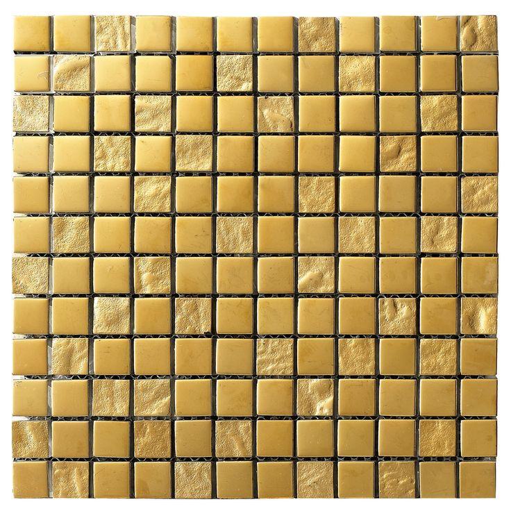 Våga inred med mycket färg! Kolla in denna guldmosaik! Lhådös Kakel Luxury - Mosaik Gold 2,5x2,5 cm | Stonefactory.se