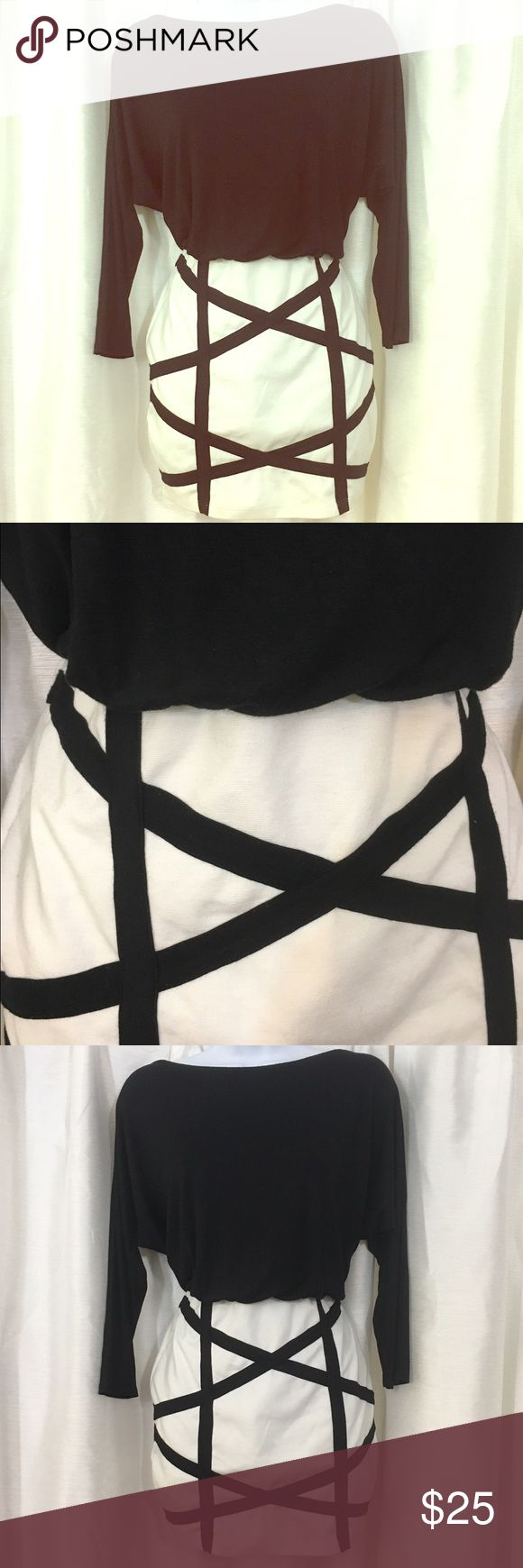 """LuLus Slouchy Top Black and White Mini Dress Sz M LuLu*s Black and White mini dress. Top is slouchy and loose and bottom skirt is fitted. Sz M. Skirt length is 14"""" from waist. Lulu's Dresses Mini"""