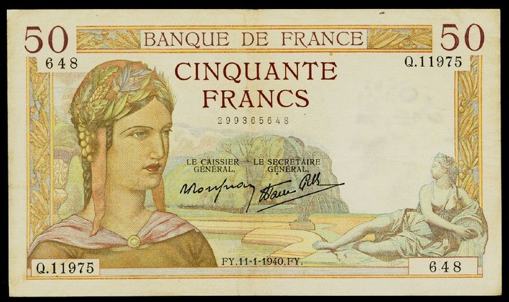 1940 50 Francs France Banknote Pick Number 85b Ceres Goddess of Agriculture & Caduceus Beautiful Very Fine or Better