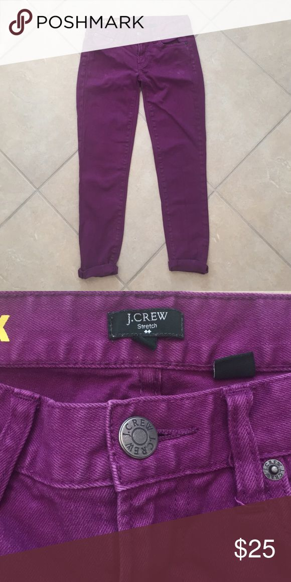 "J. Crew Twill pant J. Crew deep violet twill toothpick pant with a hint of stretch.  Flat measurements:  14"" waist, 7"" rise, 27"" inseam. J. Crew Pants Skinny"