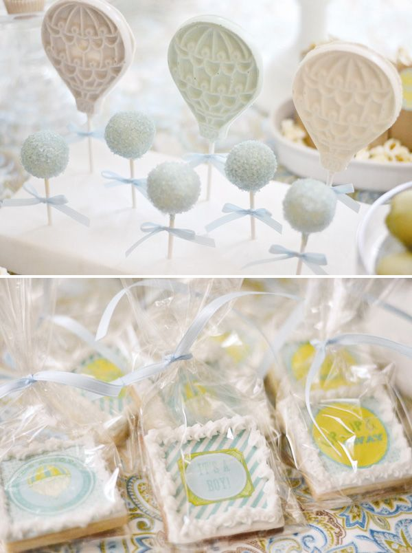 Hot air balloon dessert table baby shower hostess for How to make a balloon and streamer backdrop