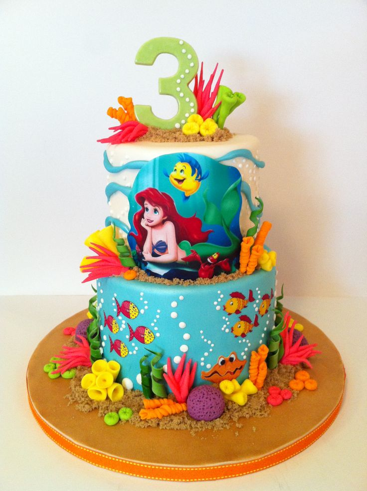 The Little Mermaid - Cake I did for a friend's little girl who love The Little Mermaid.  Ariel and friends are made from edible image.  All coral made from fondant, and #3 made from chocolate and a mold.