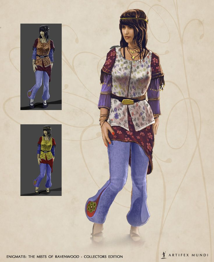 Hippie fashion? It's obvious that it needs to be flowery, loose and colourful. The question is – how to find the right balance?  #artifexmundi #fashion #character #adventure   www.artifexmundi.com/page/enigmatis2/ www.facebook.com/ArtifexMundi.Enigmatis