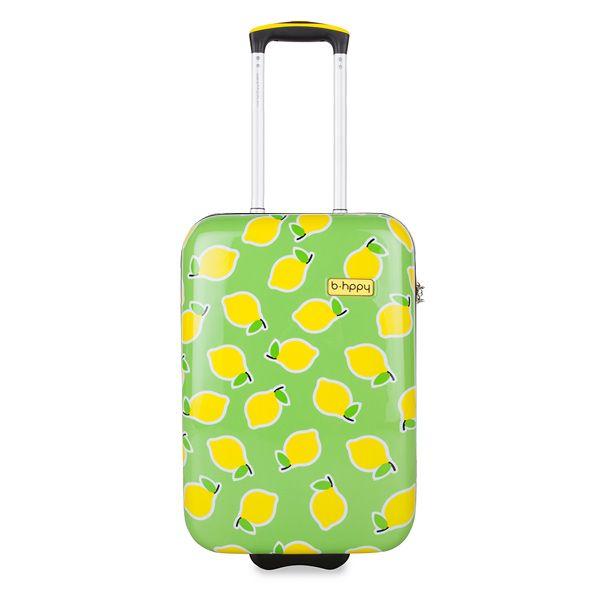 BHPPY Hand bagage koffer - Easy Peasy Lemon Squeezy (55 cm)  Frisse koffer met citroenen!Deze koffer heb je snel op de bagageband gevonden! Een leuke groene koffer met print van citroenen. De buitenkant is gemaakt van polycarbonaat dus hij kan tegen een stootje! BHPPY (Be Happy) richt zich op de vakantieganger die op zoek is naar een vrolijke originele en betaalbare koffer. Op iedereen die dat fantastische gevoel van voorpret en vakantiekriebels kent en een koffer wil die daar perfect bij…