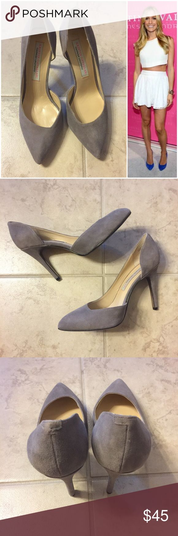 Chinese Laundry Kristin Cavallari Copertina pump Color is gray suede. Worn once for about an hour and there's really no sign of wear so they are practically new. Genuine suede. Chinese laundry by Kristin Cavallari Chinese Laundry Shoes Heels