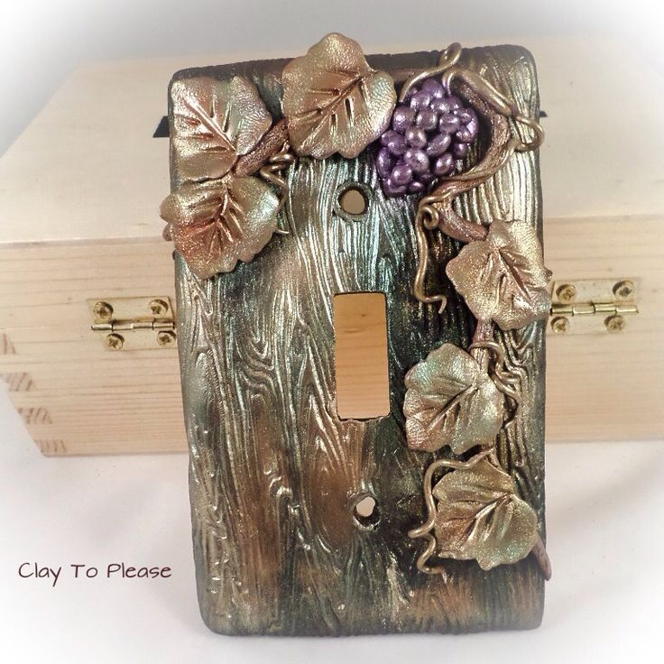 Grape vine polymer clay switch plate cover.