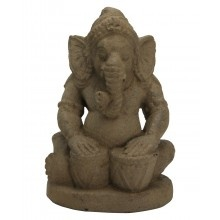 Gray Stone Ganesh Statue with Drums