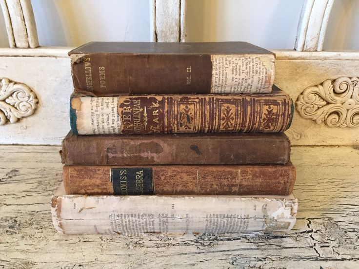 Antique Rustic Book Stack from 1880s - Tattered, Distressed Leather Books - Instant Library - Farmhouse Books by Thebeezkneezvintage on Etsy