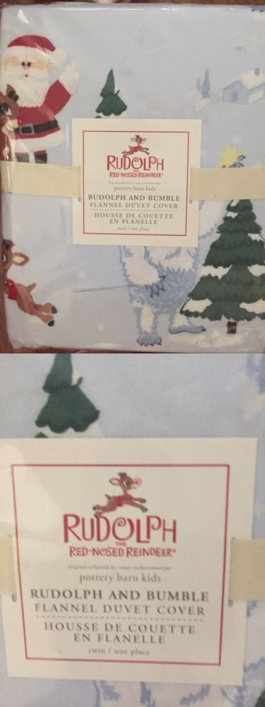 Duvet Covers 134641: 1 Pottery Barn Kids Flannel Rudolph And Bumble Twin Duvet Cover Blue Christmas -> BUY IT NOW ONLY: $53.36 on eBay!