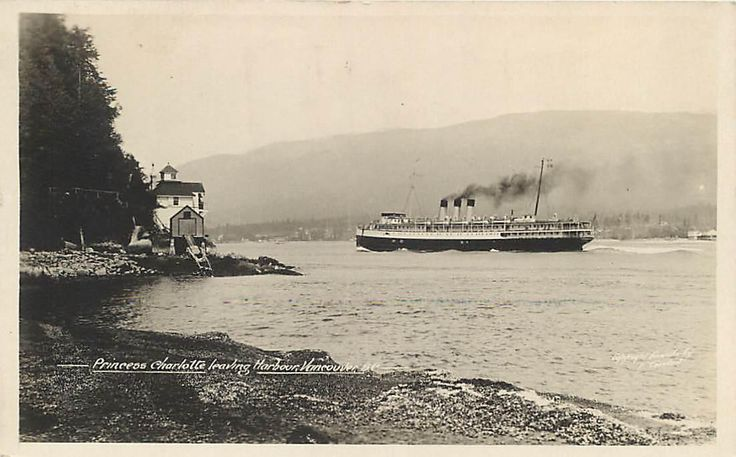 Vancouver B C Canada Princess Charlotte Leaving Harbor 1927 Postcard