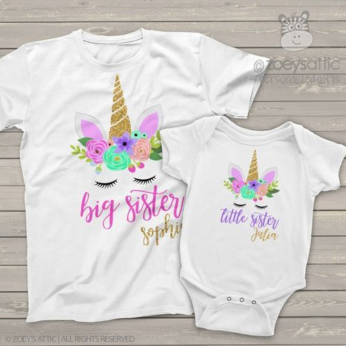 b1741c14 Big sister little sister unicorn face glitter matching sibling shirt set
