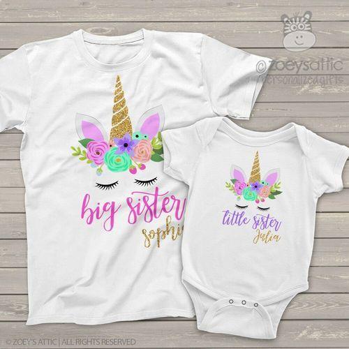 073f5c2d0265 Big sister little sister unicorn face glitter matching sibling shirt set