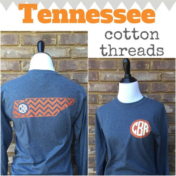 Tennessee Chevron Monogrammed Long Sleeve by CottonThreadsShirtCO