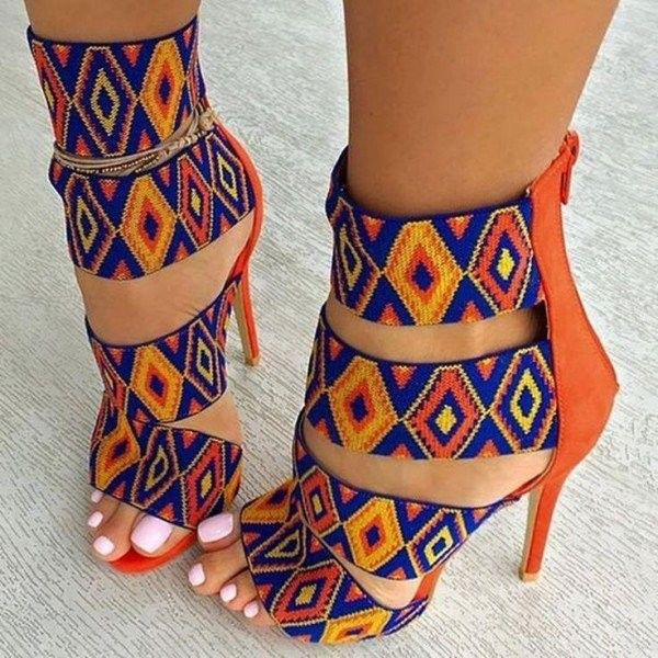 Orange and Blue Strappy Sandals Exotic Colorful Stilettos High Heels ($75) ❤ liked on Polyvore featuring shoes, sandals, multi colored sandals, blue stilettos, high heel stilettos, multi color sandals and stiletto sandals