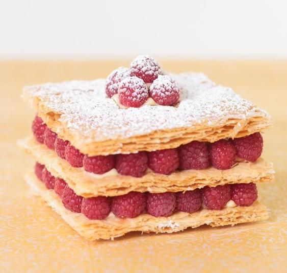 Mill-feuille cake with seasonal berries and vanilla pastry cream.