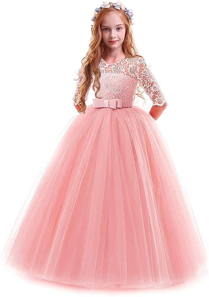Kids Wedding Bridesmaid Bowknot Dress Flower Girl Dress Party Formal Tutu Gown
