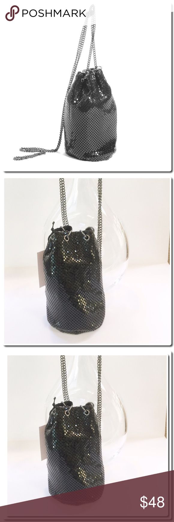 """NWOT Whiting and Davis Mini Metal Crossbody Unique and perfect to fit into your nightlife, this mini metal crossbody bag by Whiting & Davis lends a metallic outer, chain link details, and overall simple yet sassy aesthetic. Mini metal crossbody purse Chain link details Black Measures approximately 6""""l x 4 ½""""w x 2 ½""""d Whiting  and Davis Bags Mini Bags"""