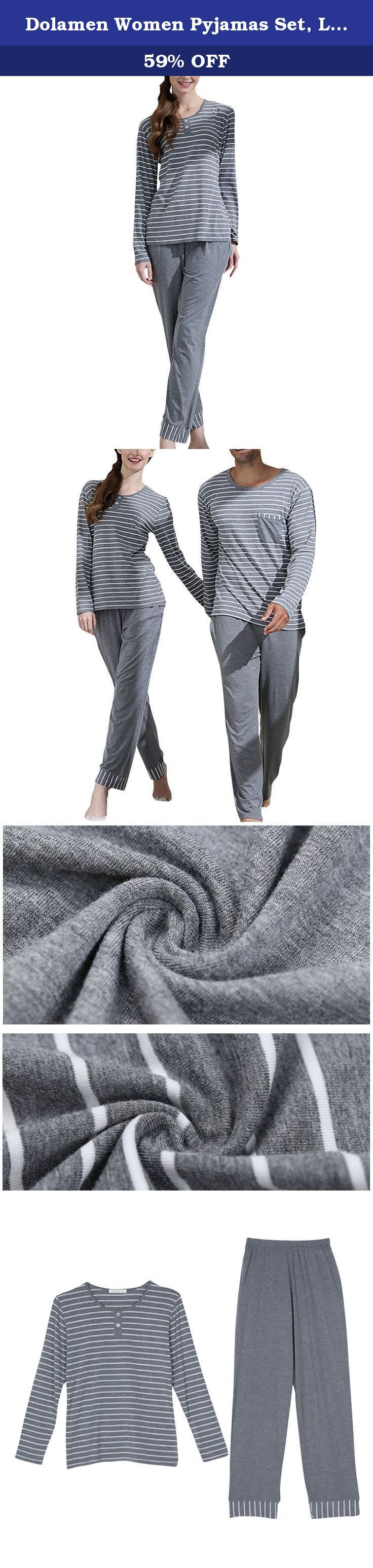Dolamen Women Pyjamas Set, Ladies Soft Warm Winter Pyjamas Nightwear, Long Sleeve Top & Bottoms, Stripe Couples Pyjamas (XX-Large, Gray). Dolamen Women Pyjamas Set, Ladies Soft Warm Winter Pyjamas Nightwear, Long Sleeve Top & Bottoms, Stripe Couples Pyjamas Women's stylish, soft and warm pyjama set. Features long sleeved top with round neck and design on the front. Long trousers with elasticated waist. The cotton blend fabric is really soft and warm helping you stay cosy this winter…