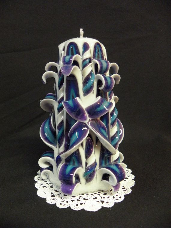 Hand carved candle white purple blue by twoladiesandbunny