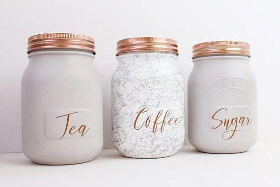 Set Of 3 Grey Marble Tea Coffee Sugar Kilner Jars
