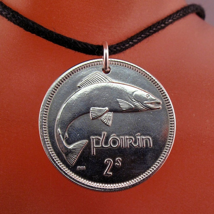 IRELAND  IRISH coin necklace Eire Fish Salmon Harp Pendant. choose year personalize No.00294