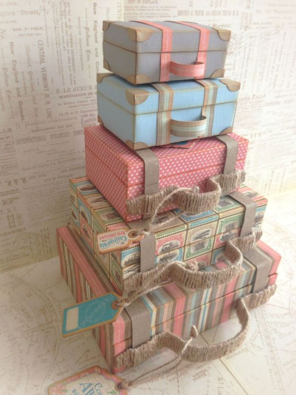 'Come Away with Me' Stacked Suitcases (view 1) + Snapguide and Video Tutorial by Katie Zoey Ho #graphic45 - Wendy Schultz ~ Graphic 45 Projects
