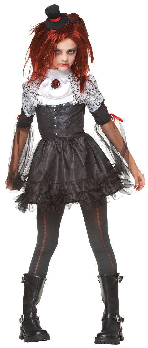 Girls Edgy Vampire Kids Costume -Gothic kids ragdoll vamp idea #Halloween