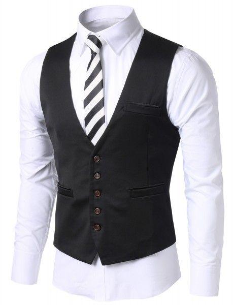 Doublju - Colete Luxury Slim Fit (L144D) Compre roupas de qualidade, com design inovador e preço justo!