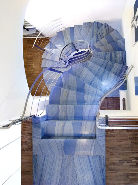 Azul Macaubas Quartzite Spiral Stairs Looking Down From