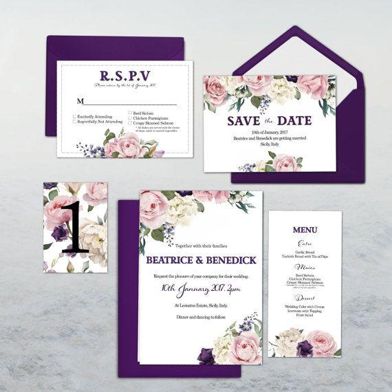 Wedding Stationary Invitations Set PRINTABLE DYI CUSTOM