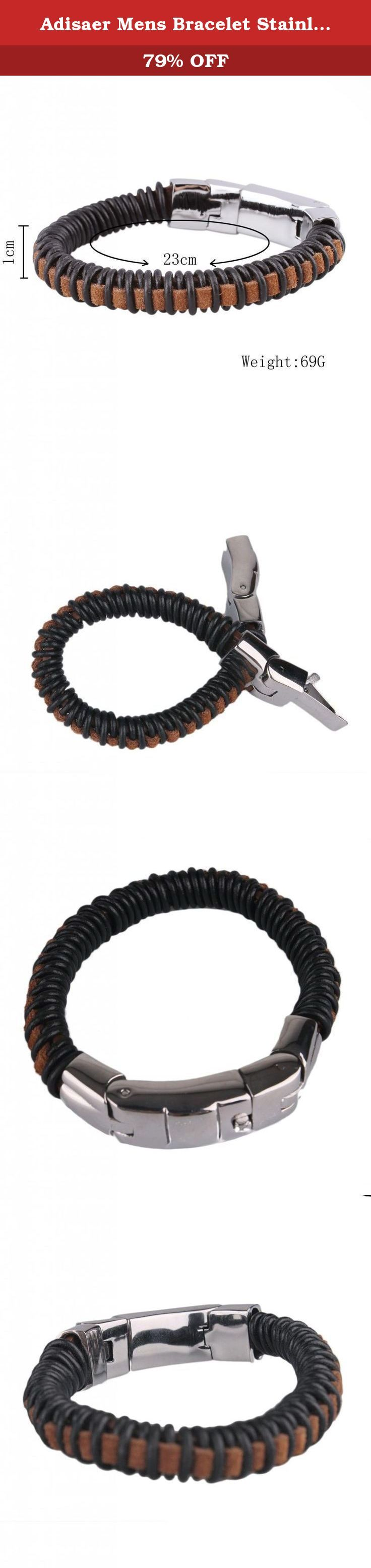 Adisaer Mens Bracelet Stainless Steel Leather Woven Bangle Black Brown Length 23CM Width 1CM. This Leather Jewelry is Hot! Perfect gift for a man. Give it to the loved one, or treat yourself for a trendy bracelet style. The two-tone men's bracelet showcases a modern design and features a soft black leather woven strap accented with a beautiful silver-tone clasp. A box with tongue type of clasp on this bracelet allows to lock the jewelry securely around your wrist. Look and feel great with...