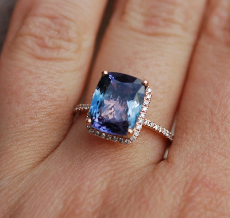 Tanzanite Ring. Rose Gold Engagement Ring Lavender Mint ...