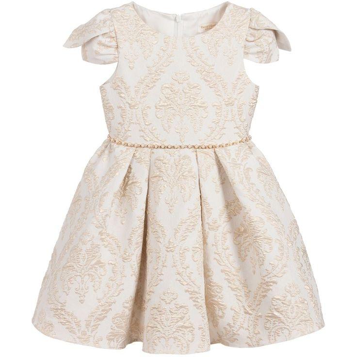 David Charles Girls Gold Brocade Dress at Childrensalon.com