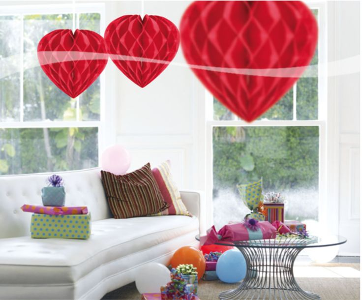 Pompom honeycomb hart rood 30 cm per stuk - De Ballonnenkoning