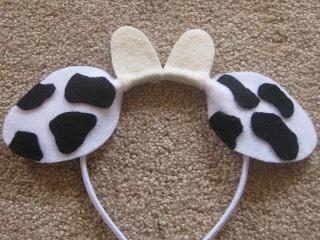 Ashley's Craft Corner: Animal Ears Headbands  - cow