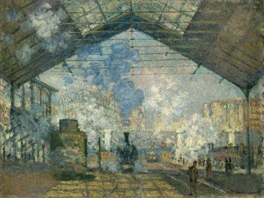 """Edouard Monet, """"Estación de St. Lazare"""" (1877). Los viajes en tren y la lectura de los letreros de los pueblos llevarán al narrador de Proust a imaginar cómo el nombre del pueblo contiene lo que el pueblo es..."""
