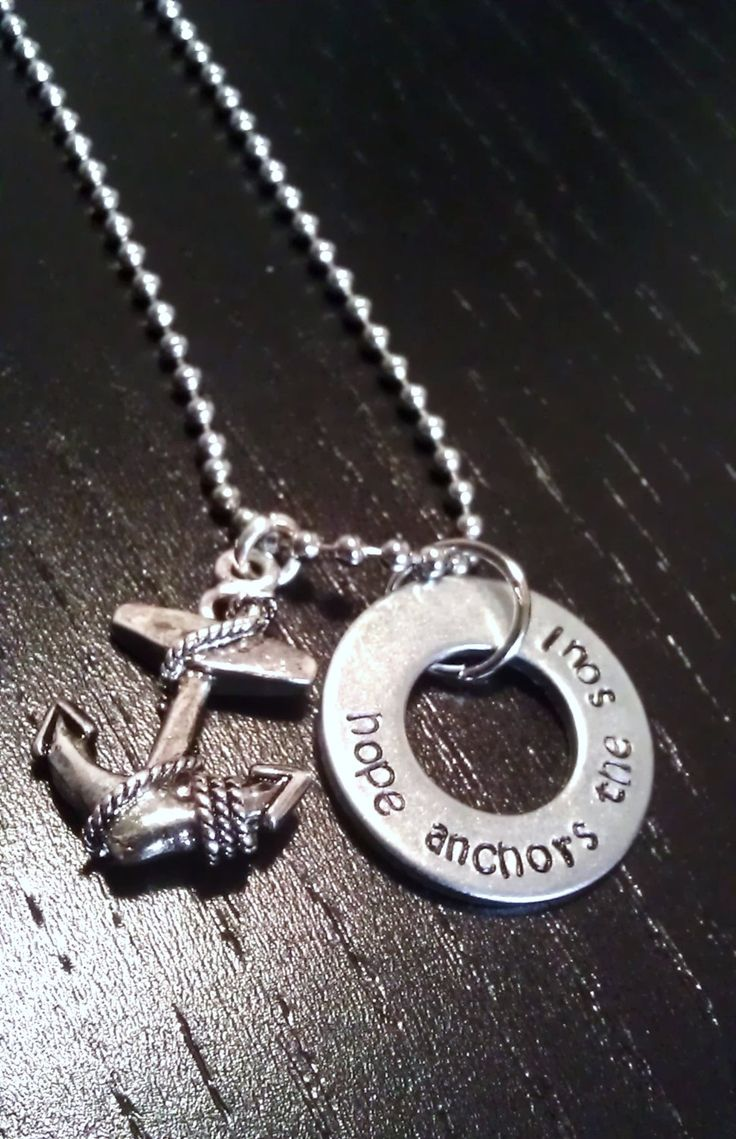 Hope anchors the Soul necklace - FREE SHPPING - custom hand stamped with anchor charm, personalized jewelry with quotes and verses. $22.00, via Etsy.