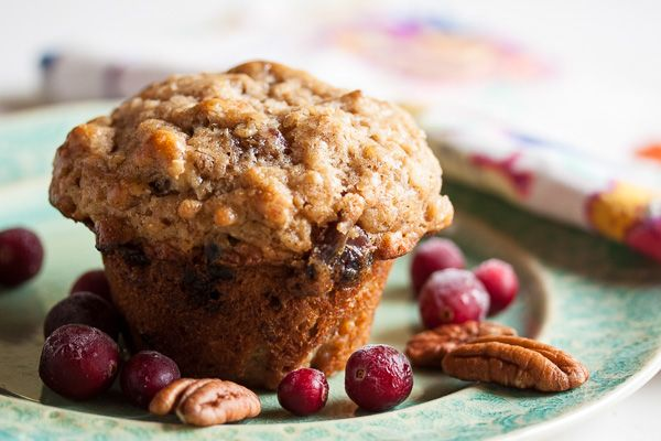 These delicious brown sugar oatmeal muffins combine plump sweet dates with the tartness of dried cranberries and the nuttiness of pecans.
