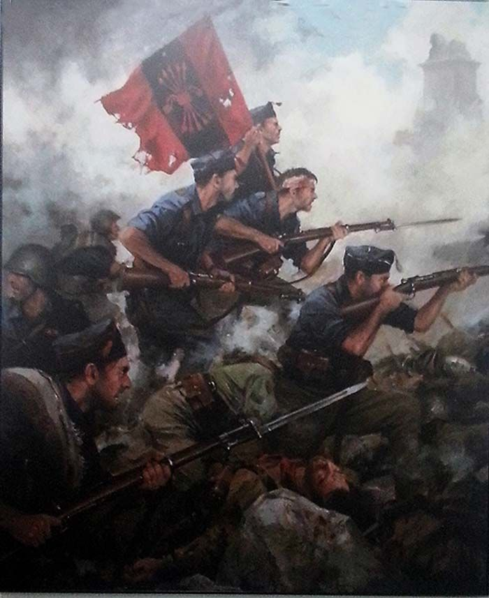 Spanish Nationalists with their flag emblazoned with the Falange symbol.Toma del alto del León. Artista Augusto Ferrer Dalmau.
