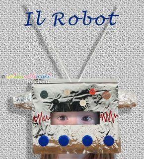 Tutorial con foto e spiegazioni per costruire una maschera da robot fai da te per carnevale o per feste a tema. Facile e veloce da fare a costo zero.