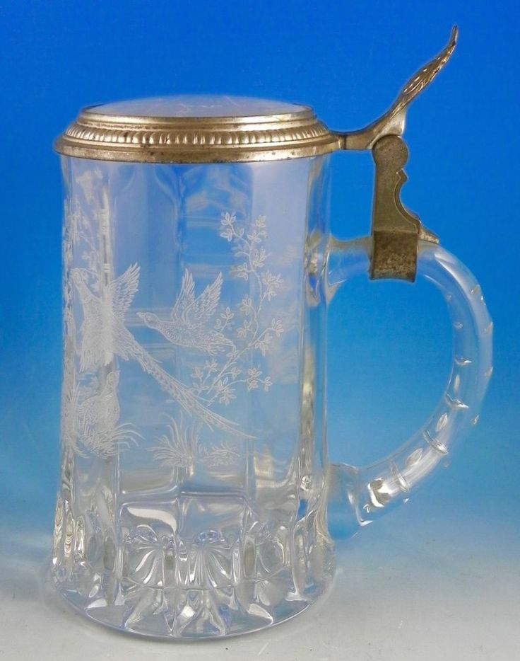 German BMF Hunter's Glass Stein with Pewter and Glass Lid Rabbits Pheasants
