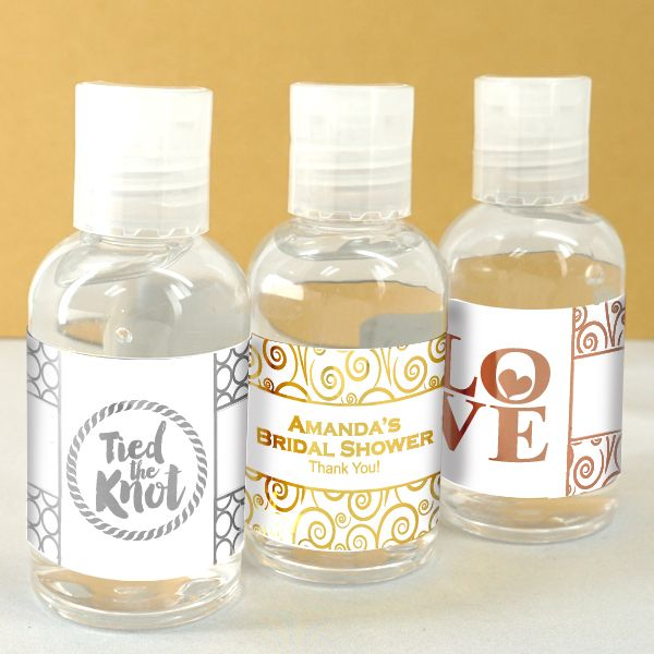 Personalized Metallic Foil Hand Sanitizer Favors Personalized