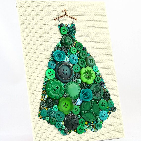 Button Art Green Ball Gown, Dressing Room Decor, Ball Gown Wall Hanging, Pretty Dress Girl Room Decor, Best Gift for Women, Gift for Her