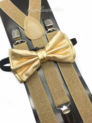 Metallic-Gold-Bow-Tie-Matching-Suspender-Tuxedo-Wedding-Accessories-New