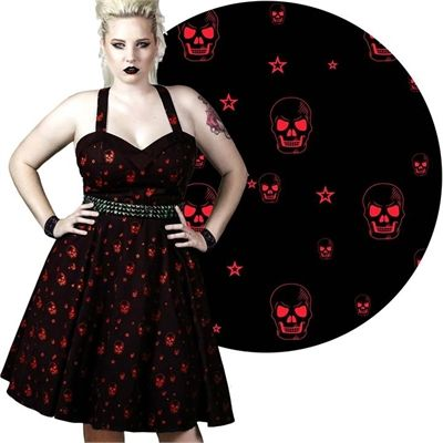 Image of Steel Kitten Mourning Star Skull Dress Red 50s Punk Rockabilly Gothic Retro